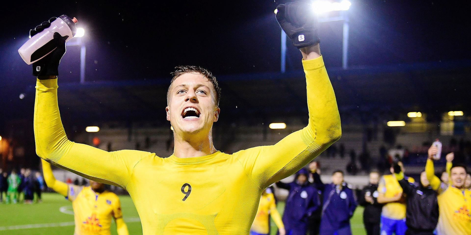 Union's Roman Ferber celebrates after winning a soccer game between Royale Union Saint-Gilloise and Lommel SK, Wednesday 06 February 2019 in Brussels, on the 24th day of the 'Proximus League' 1B division of the Belgian soccer championship. The gale was plan on 2nd February but was postponed beacuse of the snow on the field. BELGA PHOTO LAURIE DIEFFEMBACQ