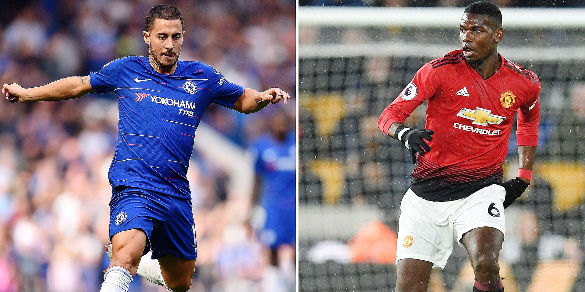 A combination of pictures created in London on April 27, 2019 shows Chelsea's Belgian midfielder Eden Hazard running with the ball at Stamford Bridge in London on September 15, 2018 and Manchester United's French midfielder Paul Pogba (R) at the Molineux stadium in Wolverhampton on April 2, 2019. - Manchester United and Chelsea's chances of a top four Premier League finish will depend largely on Paul Pogba or Eden Hazard inspiring their faltering sides over the finish line. (Photo by Paul ELLIS and Glyn KIRK / AFP) / RESTRICTED TO EDITORIAL USE. No use with unauthorized audio, video, data, fixture lists, club/league logos or 'live' services. Online in-match use limited to 120 images. An additional 40 images may be used in extra time. No video emulation. Social media in-match use limited to 120 images. An additional 40 images may be used in extra time. No use in betting publications, games or single club/league/player publications. /