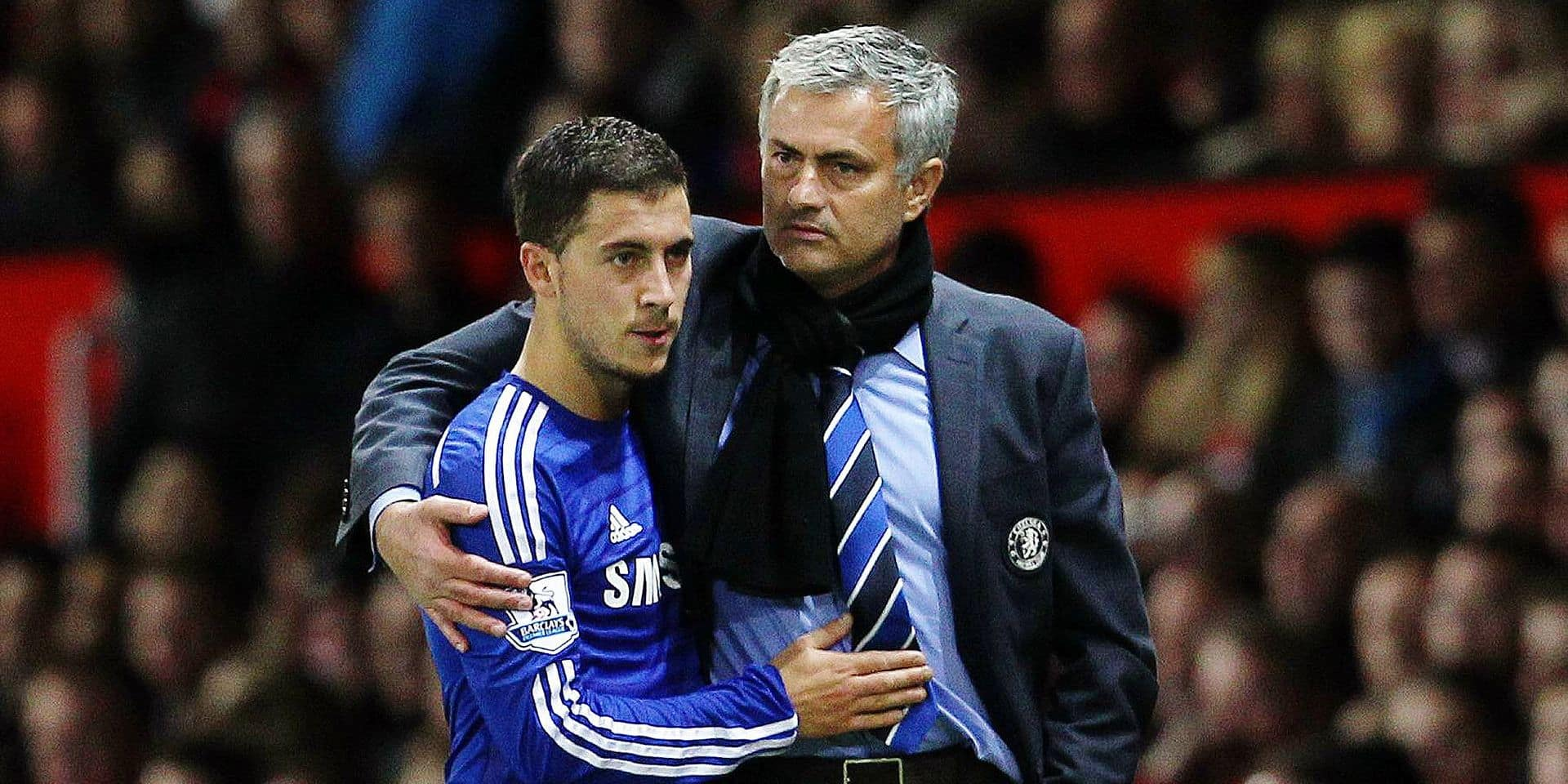Chelsea manager Jose Mourinho with his arm around Eden Hazard BPI_MW_ManUtd_Chelsea_76 JPG PUBLICATI