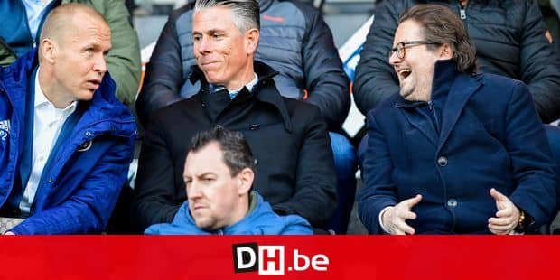 Anderlecht's assistant coach Par Zetterberg, Anderlecht's sports director Michael Verschueren and Anderlecht's chairman Marc Coucke pictured during a soccer game between KV Oostende and RSCA Anderlecht, Sunday 17 March 2019 in Oostende, on the 30th day of the 'Jupiler Pro League' Belgian soccer championship season 2018-2019. BELGA PHOTO LAURIE DIEFFEMBACQ