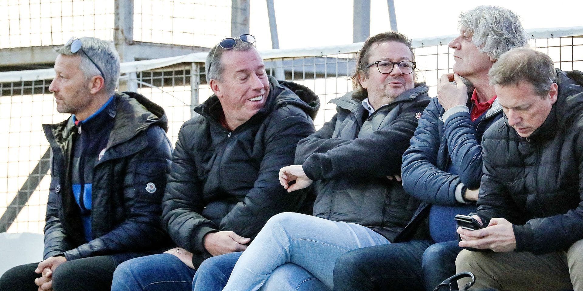 Didier Frenay, Luc Devroe and Marc Coucke pictured during a friendly soccer game between Belgian team Royal Charleroi Sporting Club and South Korean club FC Seoul, during Charleroi's winter training camp in San Pedro del Pinatar, Murcia, Spain, Wednesday 10 January 2018. BELGA PHOTO VIRGINIE LEFOUR