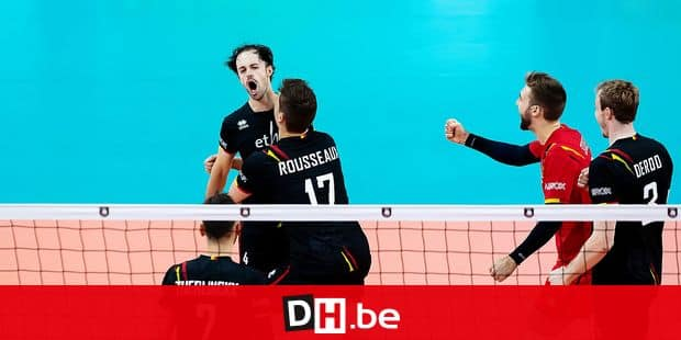 Belgium's Stijn D'Hulst and Belgium's Tomas Rousseaux celebrate during a group B game between Slovakia and the Red Dragons, Belgian national volleyball team, on the fourth day, at the European volleyball championships, Tuesday 17 September 2019, in Antwerp. BELGA PHOTO KRISTOF VAN ACCOM