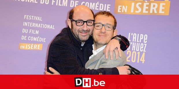 Kad Merad and Dany Boon during the 17th Alpe d'Huez Comedy Film Festival opening ceremony held in l'Alpe d'Huez, France, on January 15, 2014. Photo by Nicolas Briquet/ABACAPRESS.COM Reporters / Abaca429670_043
