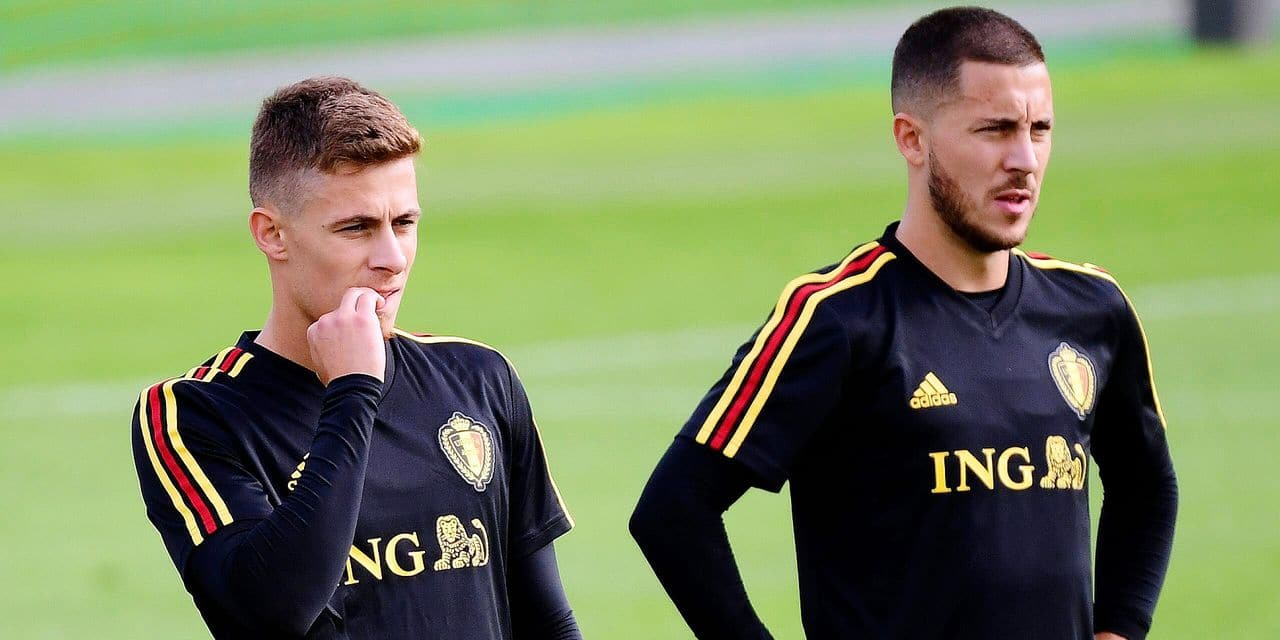 MOSCOW, RUSSIA - JUNE 14 : Thorgan Hazard midfielder of Belgium, Eden Hazard midfielder of Belgium during a training session of the National Soccer Team of Belgium as part of the preparation prior to the FIFA 2018 World Cup Russia group G phase match between Belgium and Panama at the Guchkova Sports center in Dedovsk on June 14, 2018 in Moscow, Russia, 14/06/2018 ( Photo by Peter De Voecht / Photonews