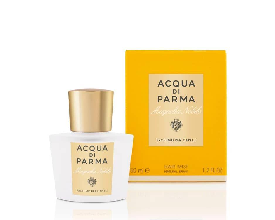 Original et utile, une brume de chevelure signée de la très luxueuse et qualitative marque italienne Acqua di Parma, Rose, Magnolia ou Pivoine, 44€