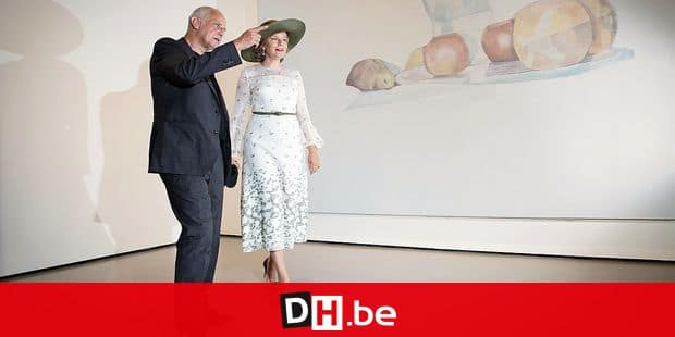 Queen Mathilde of Belgium and Artist Luc Tuymans pictured at Palazzio Grassi during a visit of the Queen to the 58th Venice Biennale Arte, International Art Exhibition, Friday 06 September 2019, in Venice, Italy. BELGA PHOTO BENOIT DOPPAGNE Reporters / Photoshot