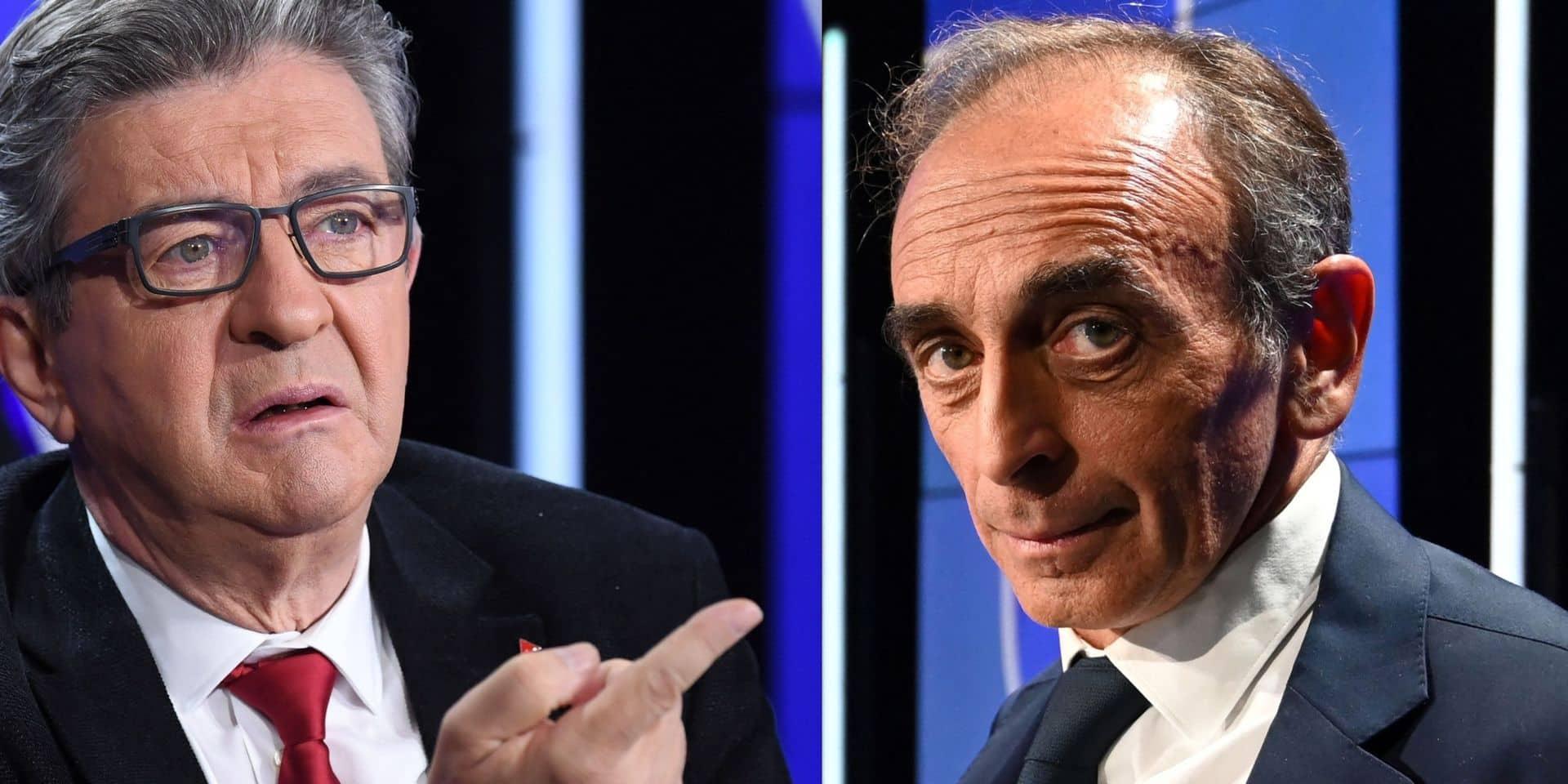 """""""Vous êtes un danger pour notre pays"""", """"Dans votre camp, on guillotine"""": débat tendu entre Mélenchon et Zemmour"""
