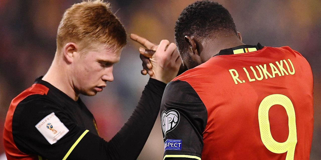 Belgium's Kevin De Bruyne and Belgium's Romelu Lukaku celebrate after scoring during a qualification game for the soccer World Cup 2018 between Belgian national soccer team Red devils and Estonian soccer team, on Sunday 13 November 2016, in Brussels. It's the fourth qualification game and Belgium was leading the group H with three victories in the first games. BELGA PHOTO DIRK WAEM