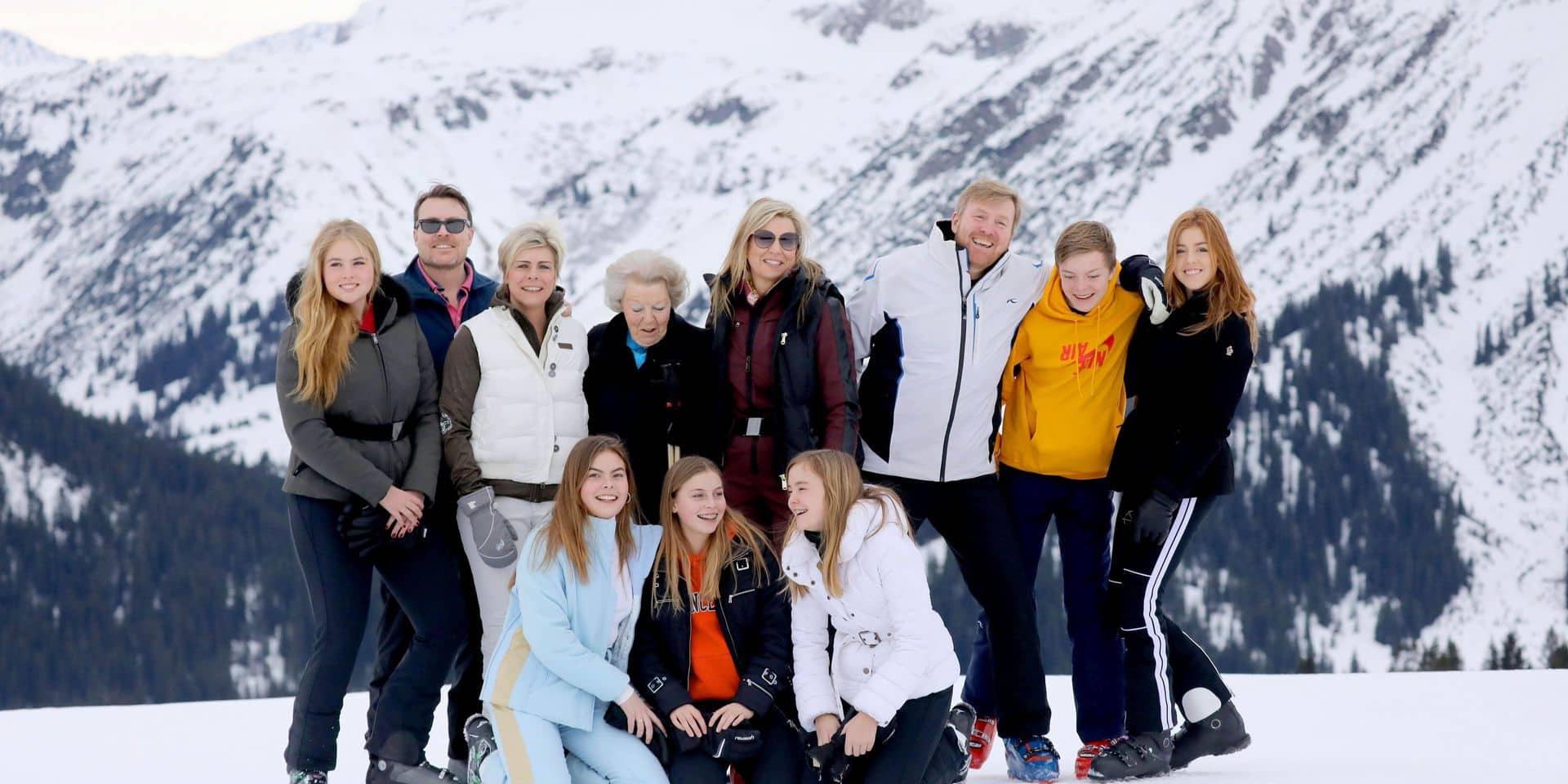 La famille royale hollandaise en famille, au ski