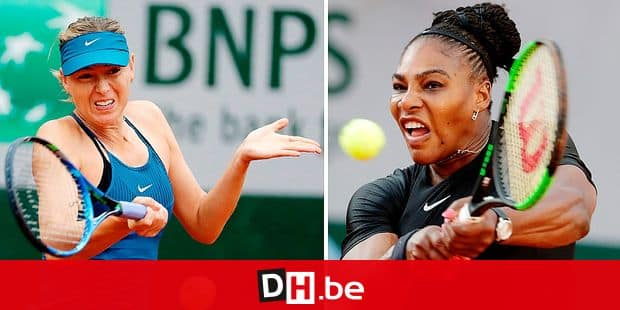 (COMBO/FILES) This combination of file photos created on June 3, 2018, shows Russia's Maria Sharapova (L) on May 29, 2018, and (R) Serena Williams of the US on June 2, 2018. Both during play in the French Open. - Williams will begin her quest for a seventh US Open title and record-tying 24th Grand Slam victory against Maria Sharapova in the US Open women's singles draw unveiled on August 22, 2019. Williams has dominated the Russian star in their head-to-head rivalry, winning 19 times with only two defeats, including their past 18 meetings, most recently at the 2016 Australian Open quarter-finals. (Photo by Thomas SAMSON / AFP)