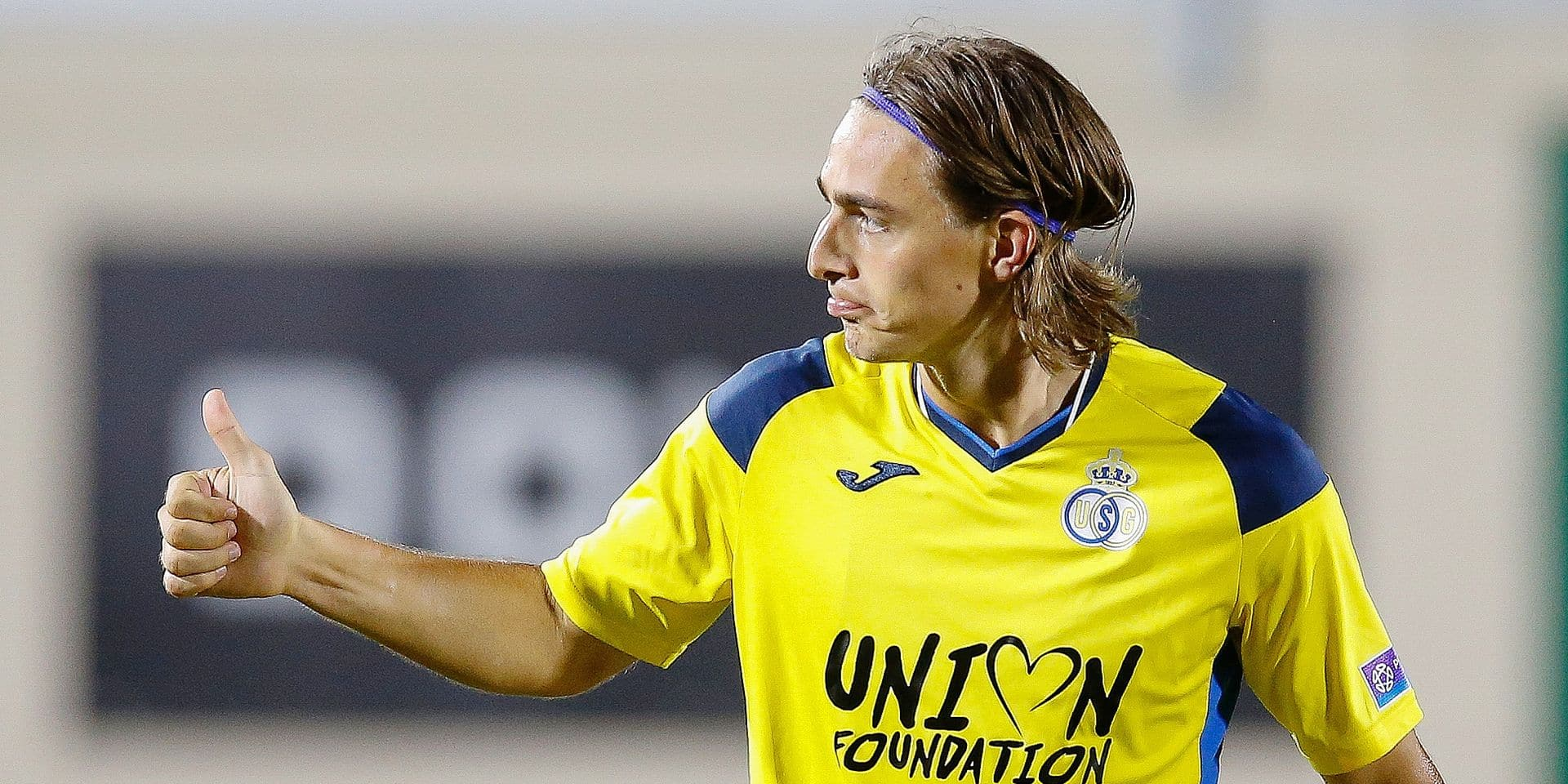 Union's Casper Nielsen celebrates after scoring during a soccer match between Excelsior Virton and Royale Union Saint-Gilloise, Saturday 10 August 2019 in Virton, on day two of the 'Proximus League' 1B division of the Belgian soccer championship. BELGA PHOTO BRUNO FAHY