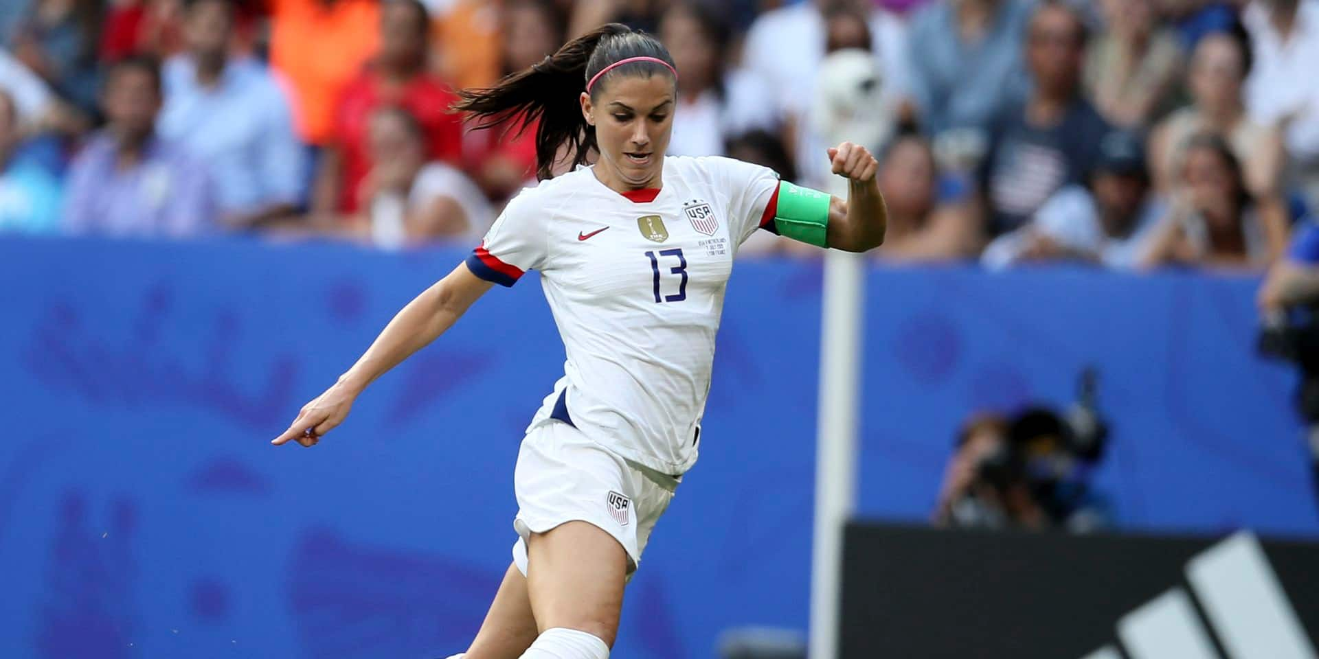 United States' Alex Morgan controls the ball during the Women's World Cup final soccer match between US and The Netherlands at the Stade de Lyon in Decines, outside Lyon, France, Sunday, July 7, 2019. (AP Photo/David Vincent)