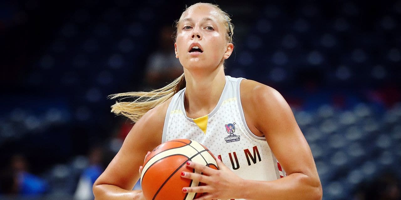 Belgian Cats Julie Allemand pictured in action during a basketball match between Belgian national team Belgian Cats and Hungary, a classification game for the Olympic Qualifying tournament, Saturday 06 July 2019 in Belgrade, Serbia, at the Women's EuroBasket basketball European championships, organised in Latvia and Serbia. BELGA PHOTO VIRGINIE LEFOUR