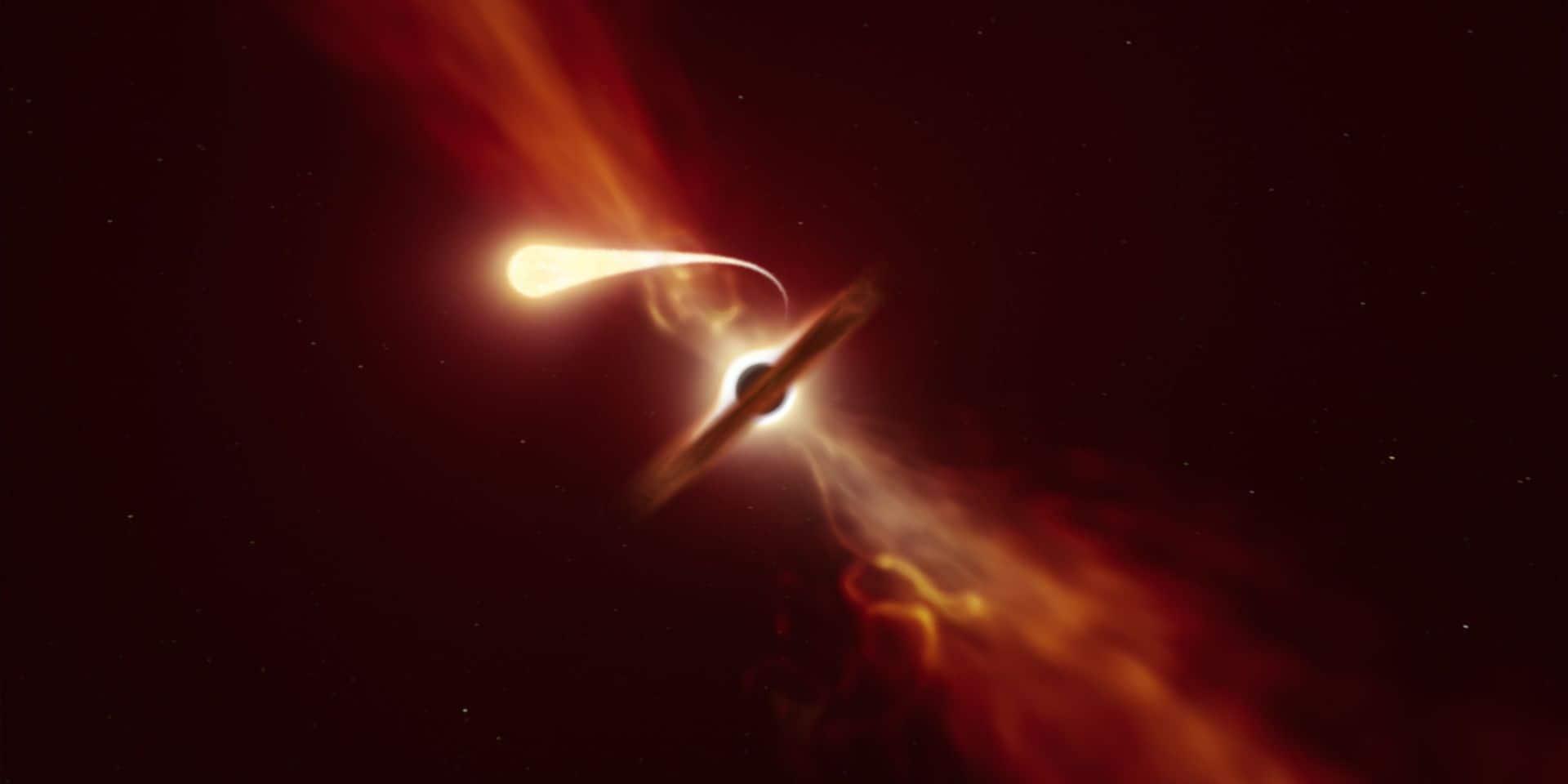 """La """"spaghettification"""" d'une étoile par un trou noir observée en temps réel"""