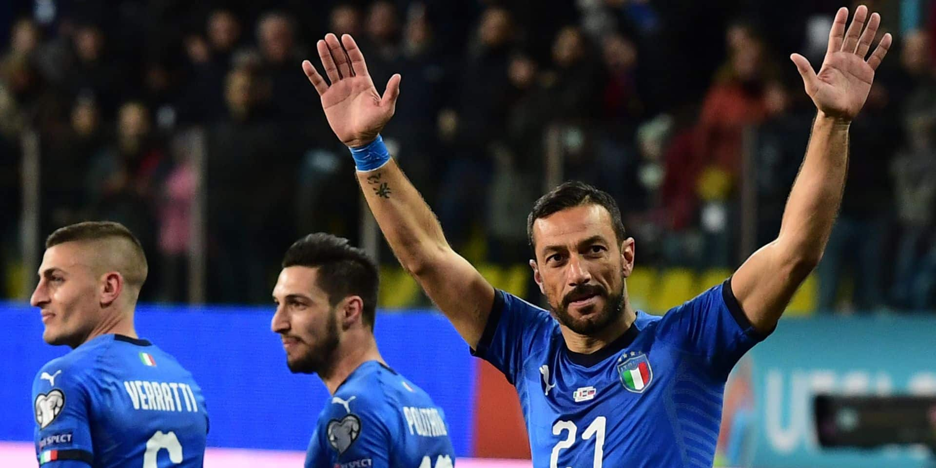 Italy's forward Fabio Quagliarella (R) celebrates after scoring a penalty during the Euro 2020 Group J qualifying football match Italy vs Liechtenstein on March 26, 2019 at the Ennio-Tardini stadium in Parma. (Photo by Miguel MEDINA / AFP)