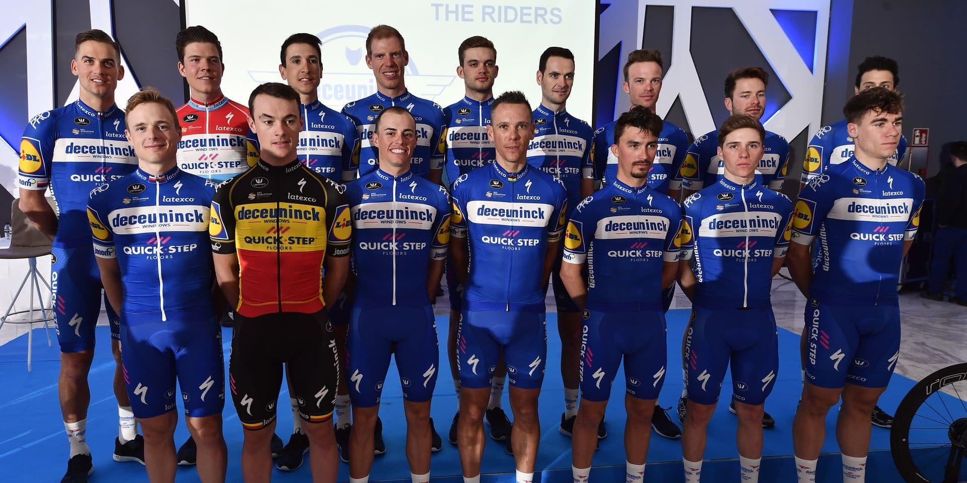 The team pose at the team presentation of Belgian cycling team Deceuninck - Quick-Step, in Calpe, Spain, Tuesday 08 January 2019. BELGA PHOTO ERIC LALMAND