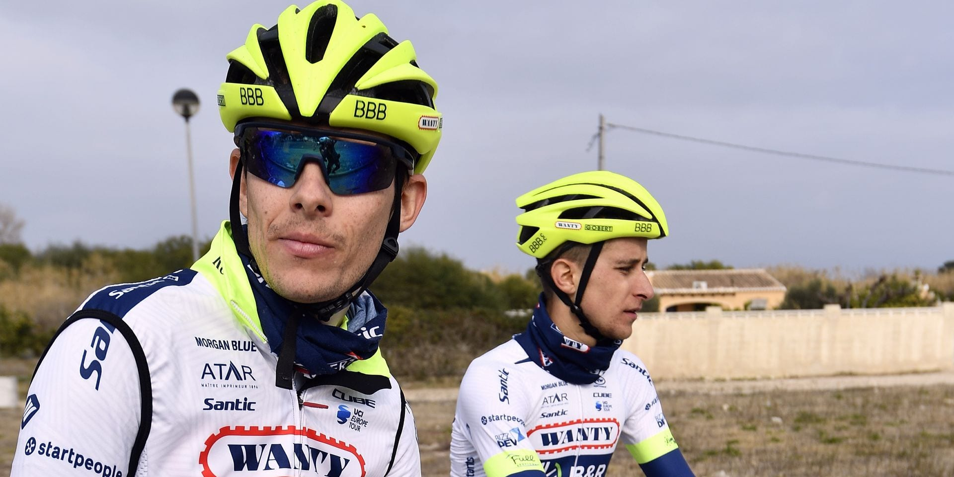 French Guillaume Martin of Wanty-Groupe Gobert and French Fabien Doubey of Wanty-Groupe Gobert pictured during the second day of the press trip organised by Belgian cycling team Wanty-Groupe Gobert, during their winter stage in Altea, Spain, Thursday 17 January 2019. BELGA PHOTO ERIC LALMAND
