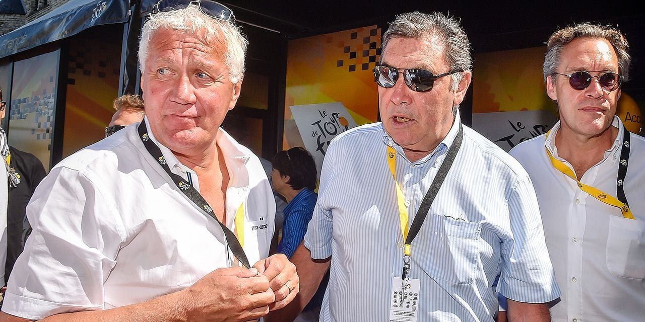 20150706 - ANTWERPEN, BELGIUM: Former Belgian cyclist Eddy Merckx and Belgian Patrick Lefevere, General manager of team Etixx - Quick-Step pictured at the start of stage 3 of the 102nd edition of the Tour de France cycling race, 159,5 km from Antwerp to Huy, Monday 06 July 2015. This year's Tour de France is taking place from 4 to 26 July. BELGA PHOTO LUC CLAESSEN