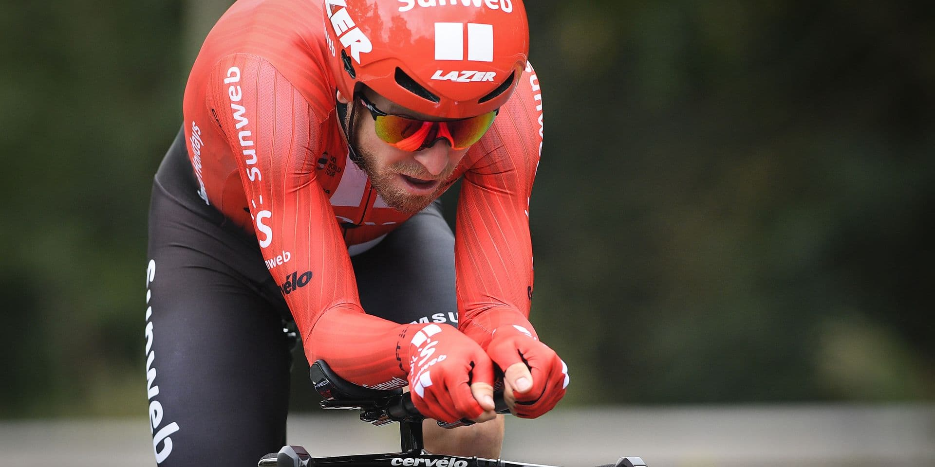 Belgian Jan Bakelants of Team Sunweb pictured in action during the sixth stage of the 'Binckbank Tour' cycling race, an individual time trial from Den Haag to Den Haag (8,4 km), Saturday 17 August 2019. BELGA PHOTO DAVID STOCKMAN