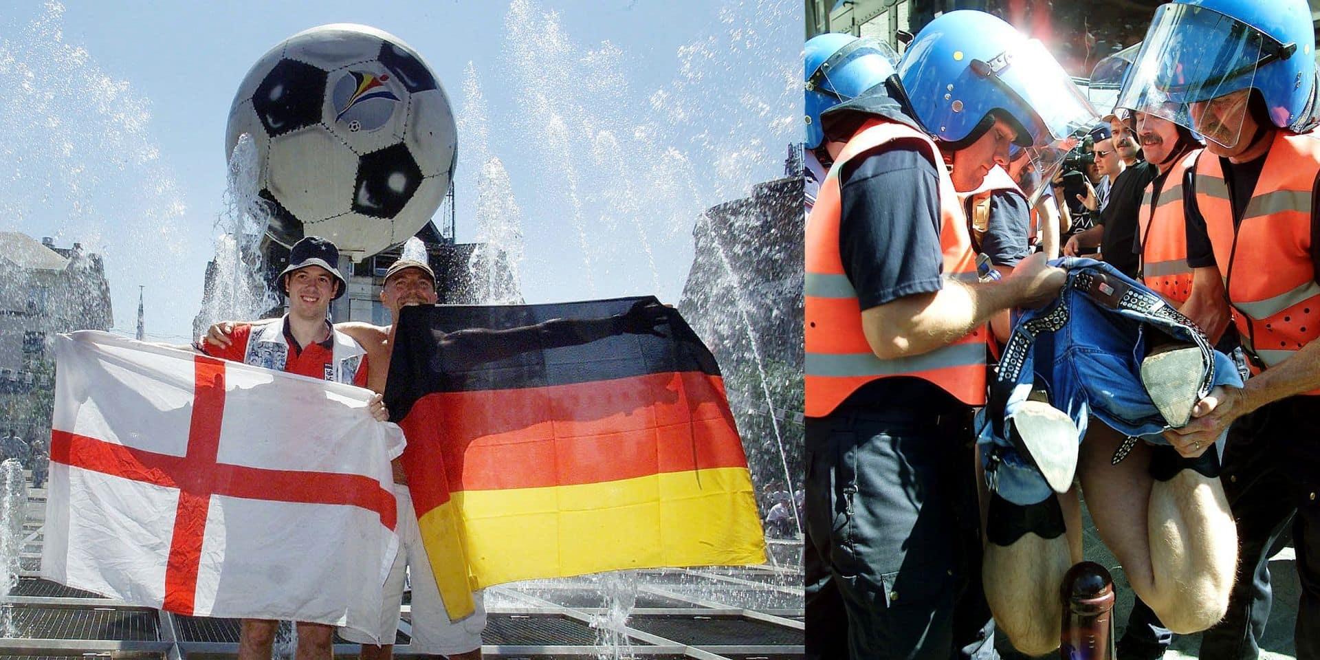 """Il y a 20 ans, l'Euro 2000, un avant-match Angleterre-Allemagne violent à Charleroi: """"On a juste eu le temps de mettre nos casques"""" (VIDEO)"""
