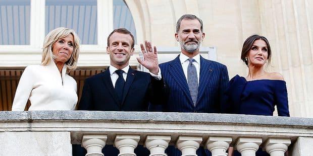 Felipe et Letizia d'Espagne en visite chez les Macron