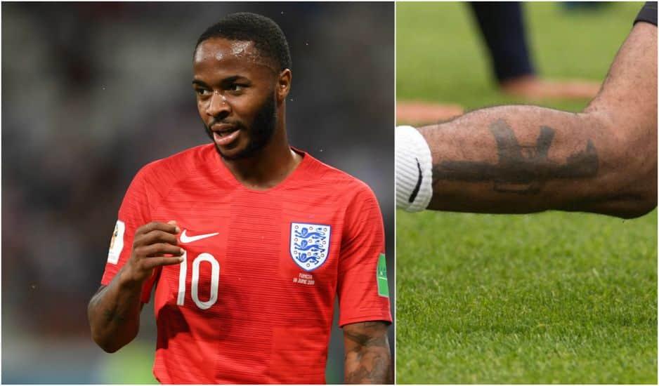 En mai dernier,                                                                         Raheem Sterling (Angleterre) dévoile ce tatouage d' une arme sur son mollet, déclenchant une polémique. Le joueur a éteint le feu en expliquant le sens de ce tatouage sur Instagram :