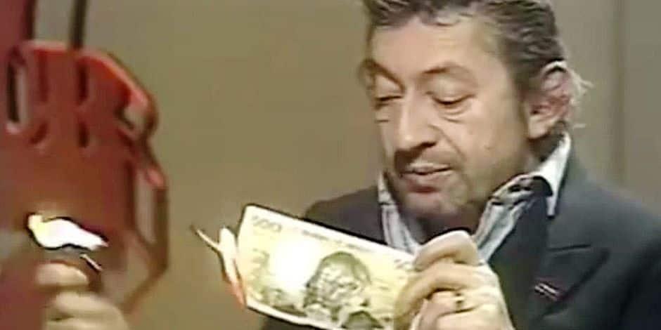 Un billet de 500 francs déchiré par Serge Gainsbourg aux enchères