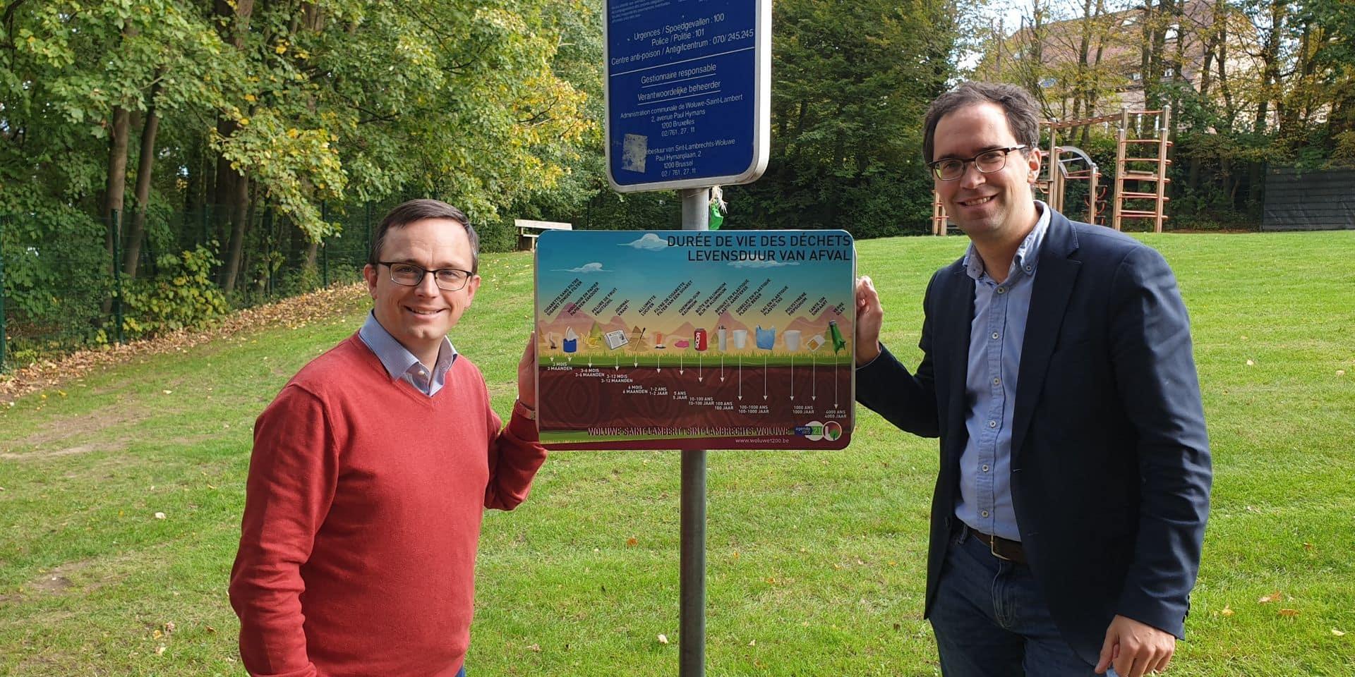 Woluwe-Saint-Lambert : Des panneaux pour rappeler la durée de vie des déchets