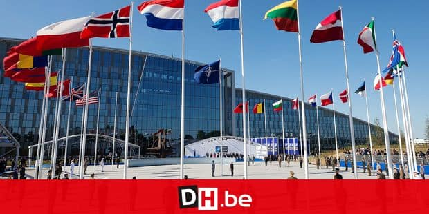 Illustration picture shows flags of the NATO countries during the handover ceremony of the new headquarters of NATO, North Atlantic Treaty Organization, in Evere, Brussels, Thursday 25 May 2017. BELGA PHOTO BENOIT DOPPAGNE
