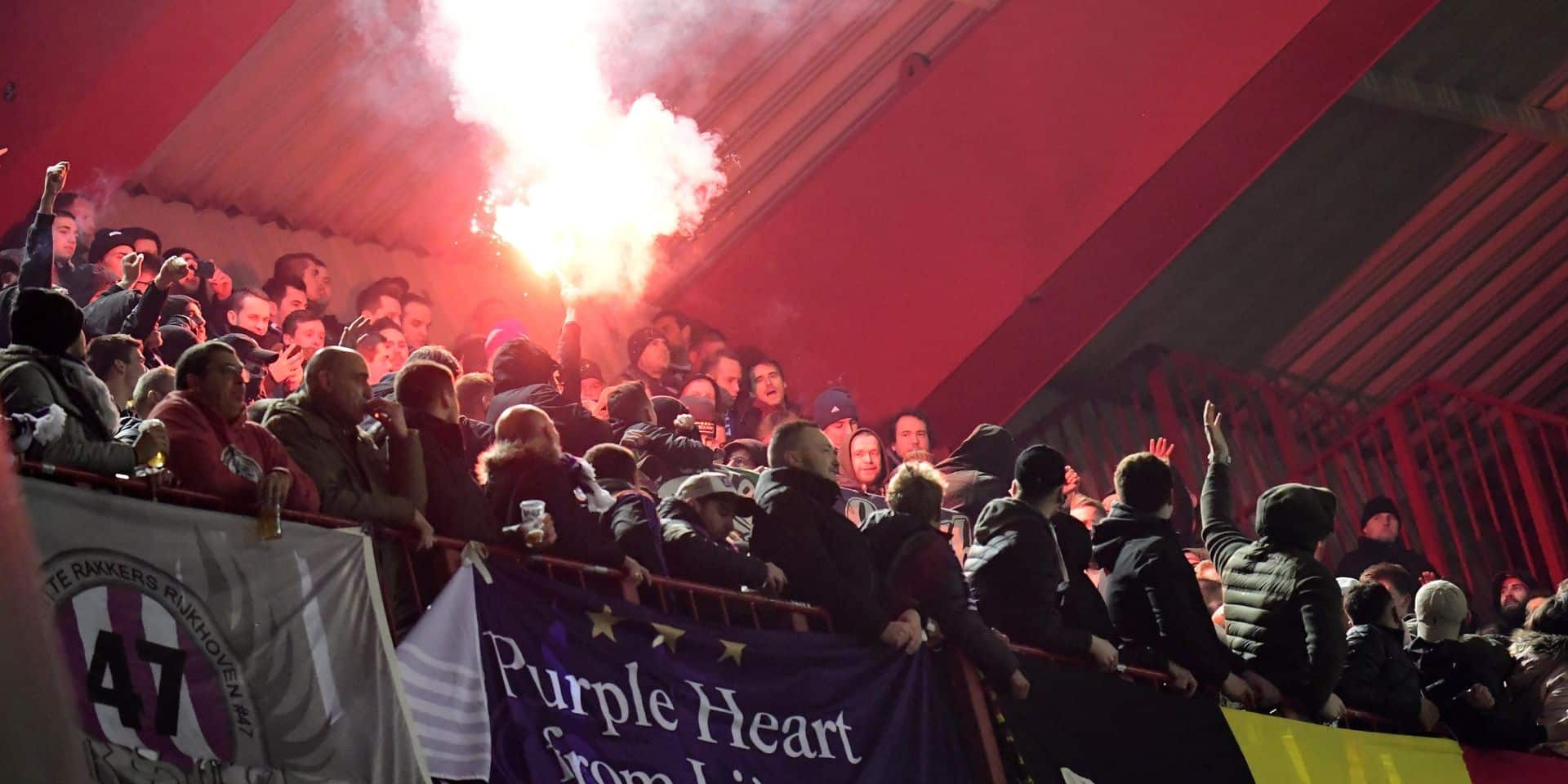 LIEGE, BELGIUM - APRIL 12 :fans of Anderlecht and illustration picture fireworks the Jupiler Pro League play off 1 match between Standard de Liege and RSC Anderlecht on April 12, 2019 in Liege, Belgium, 12/04/2019 ( Photo by Peter De Voecht Photonews