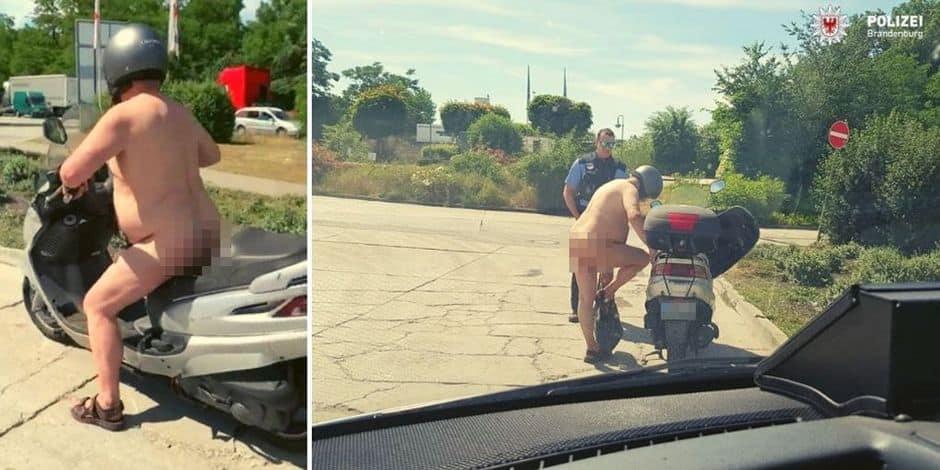 """Totalement nu sur son scooter, la police l'interpelle : """"Ben il fait chaud, non ?"""""""