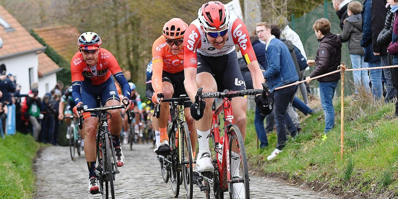 Belgian Tim Wellens of Lotto Soudal pictured in action during the men's race of 74th edition of the one-day cycling race 'Omloop Het Nieuwsblad', 200km from Merelbeke to Ninove, Saturday 02 March 2019. BELGA PHOTO DAVID STOCKMAN