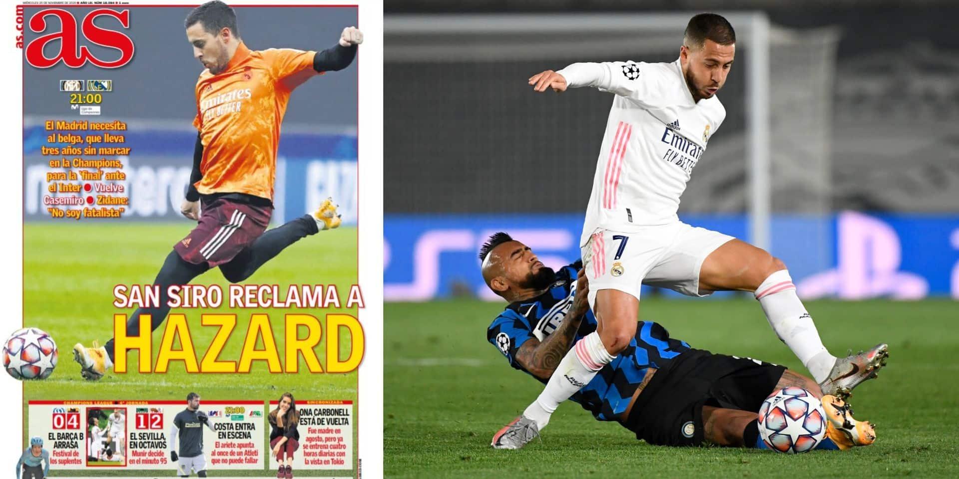 """La presse espagnole dédie sa Une à Eden avant le choc face à l'Inter: """"San Siro réclame Hazard"""""""