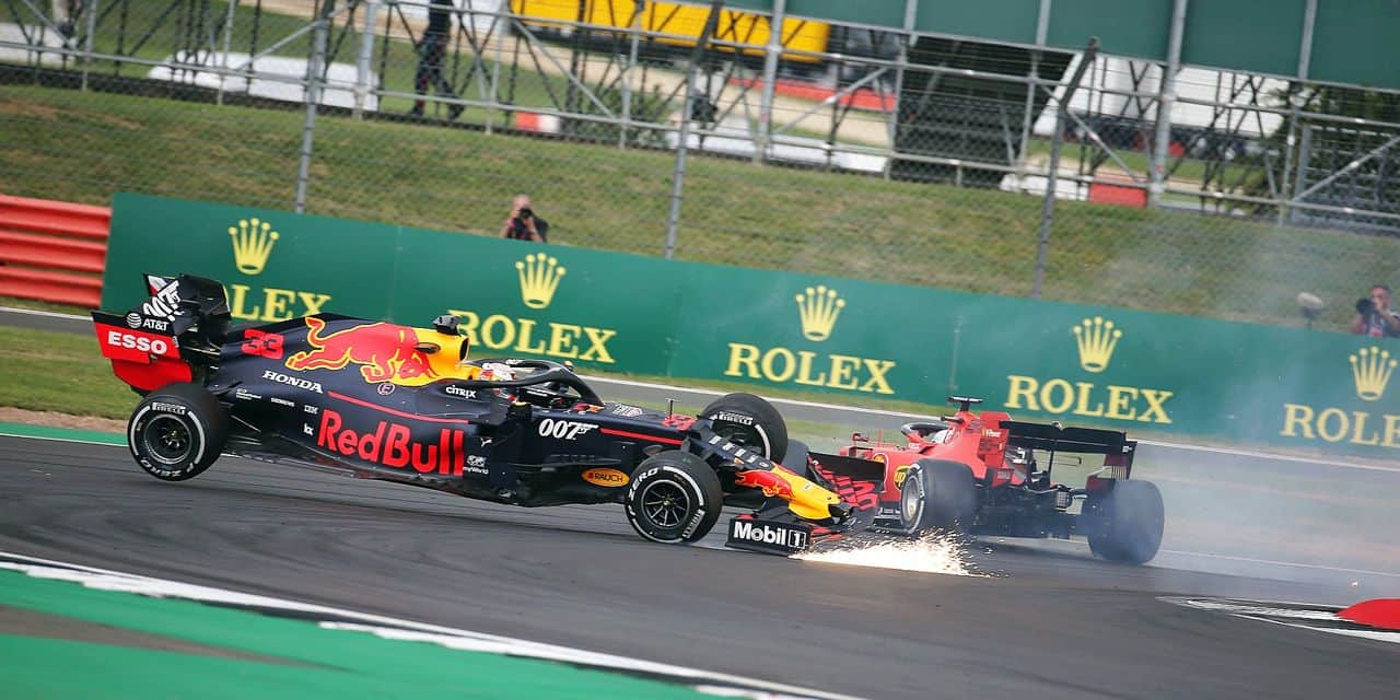 Sebastian Vettel (GER) Ferrari SF90 crashes into the back of Max Verstappen (NLD) Red Bull Racing RB15. 14.07.2019. Formula 1 World Championship, Rd 10, British Grand Prix, Silverstone, England, Race Day. - www.xpbimages.com, EMail: requests@xpbimages.com - copy of publication required for printed pictures. Every used picture is fee-liable. © Copyright: Batchelor / XPB Images