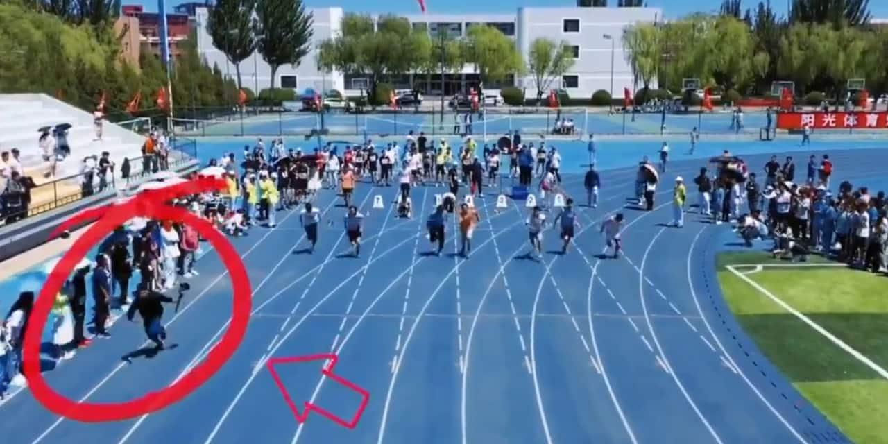 Impressionnant: un cameraman chargé de filmer une course... va plus vite que les sprinteurs ! (VIDEO)