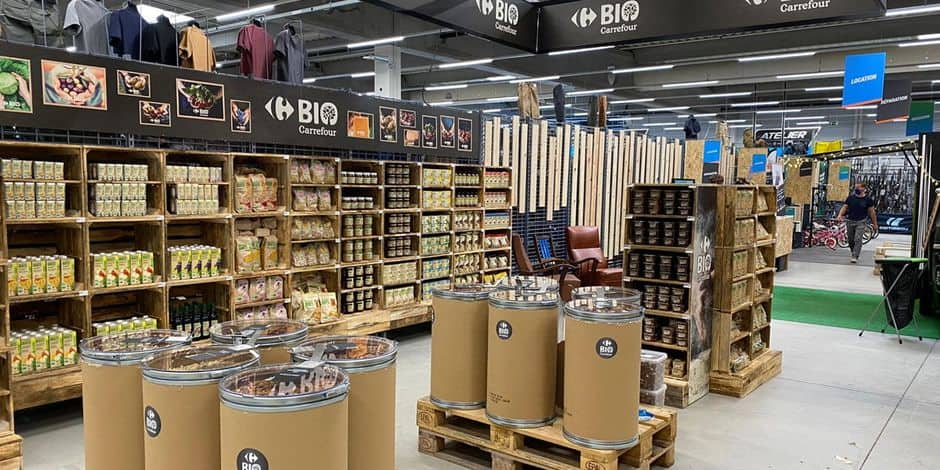 Nouvelle collaboration entre Decathlon et Carrefour en Belgique : un corner Carrefour Bio désormais accessible au Decathlon de Namur