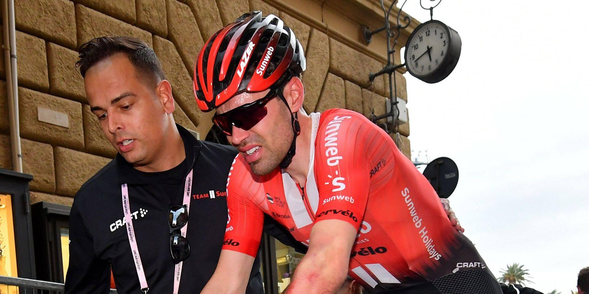 """Dumoulin, après sa chute dans le Giro: """"Pour le général, c'est fini"""""""