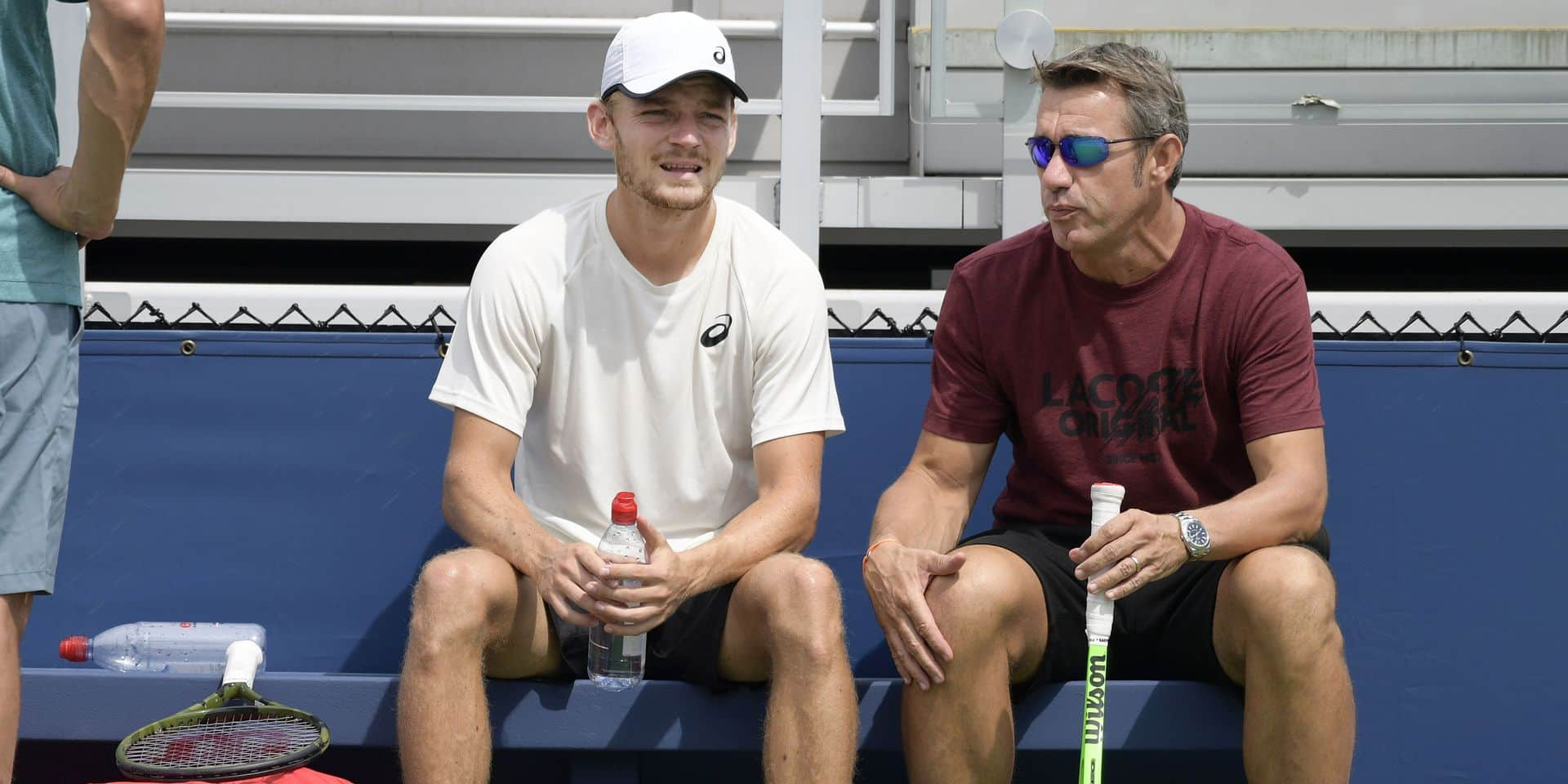 Belgian David Goffin and Goffin's coach Thierry Van Cleemput pictured during a training session ahead of the 118th US Open Grand Slam tennis tournament, at Flushing Meadow, in New York City, USA, Friday 24 August 2018. BELGA PHOTO YORICK JANSENS