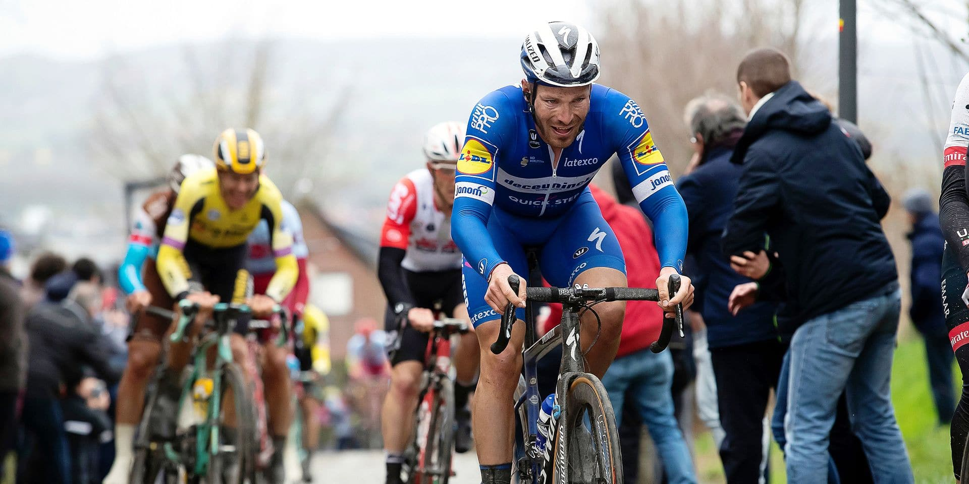 French Florian Senechal of Deceuninck - Quick-Step pictured in action during the 71st edition of the Kuurne-Brussels-Kuurne one day cycling race, 200,1 km from Kuurne to Kuurne via Brussels, Sunday 03 March 2019. BELGA PHOTO KRISTOF VAN ACCOM