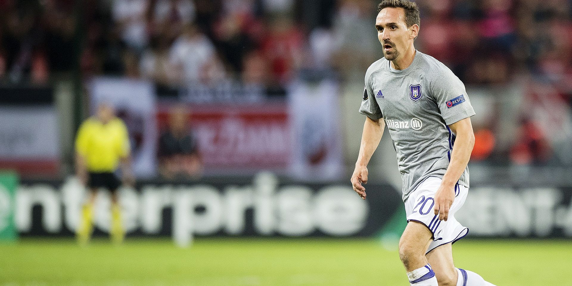 Anderlecht's Sven Kums pictured in action during a match between Belgian soccer team RSC Anderlecht and Slovakian club Spartak Trnava, Thursday 20 September 2018 in Trnava, Slovakia, on day one of the UEFA Europa League group stage. BELGA PHOTO JASPER JACOBS