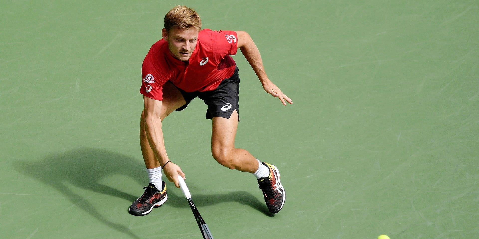 Belgian David Goffin pictured in action during a tennis match between Belgian David Goffin (ATP 15) and Swiss Roger Federer (ATP 3), in the fourth round of the Men's Singles of the US Open Grand Slam tennis tournament, at Flushing Meadow, in New York City, USA, Sunday 01 September 2019. BELGA PHOTO YORICK JANSENS