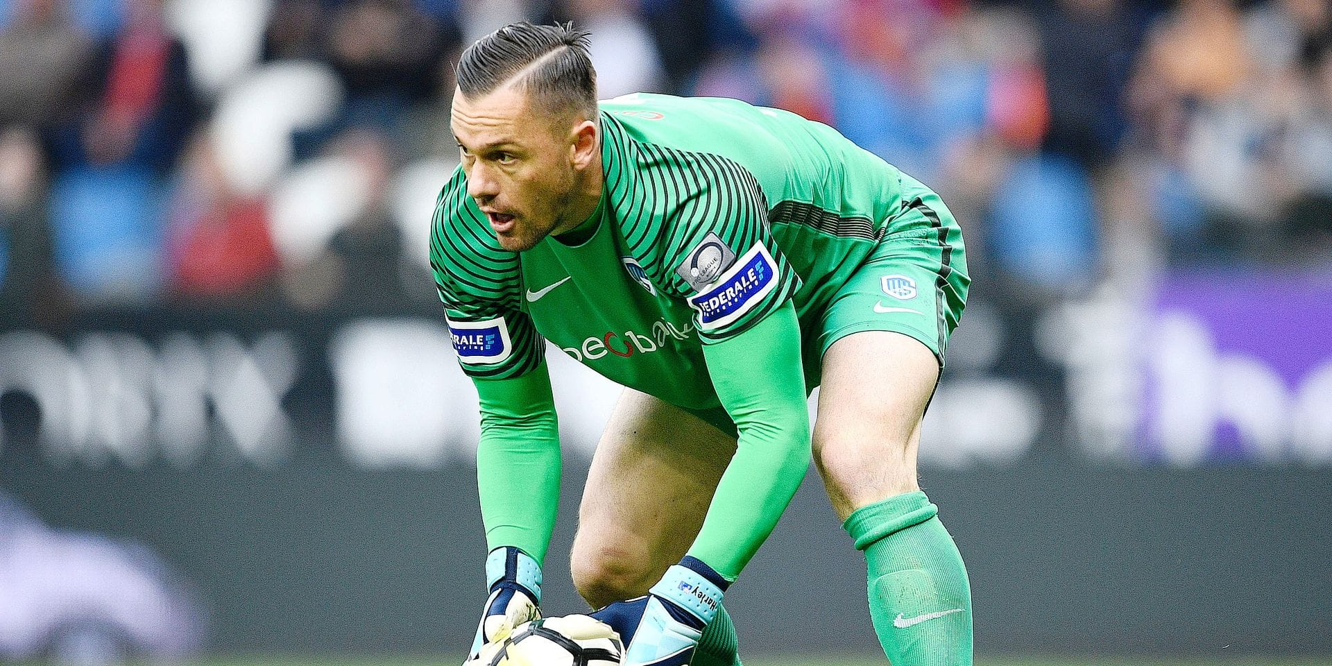 Genk's goalkeeper Danny Vukovic pictured in action during the Jupiler Pro League match between KRC Genk and Sporting Charleroi, in Genk, Sunday 13 May 2018, on day nine of the Play-Off 1 of the Belgian soccer championship. BELGA PHOTO YORICK JANSENS