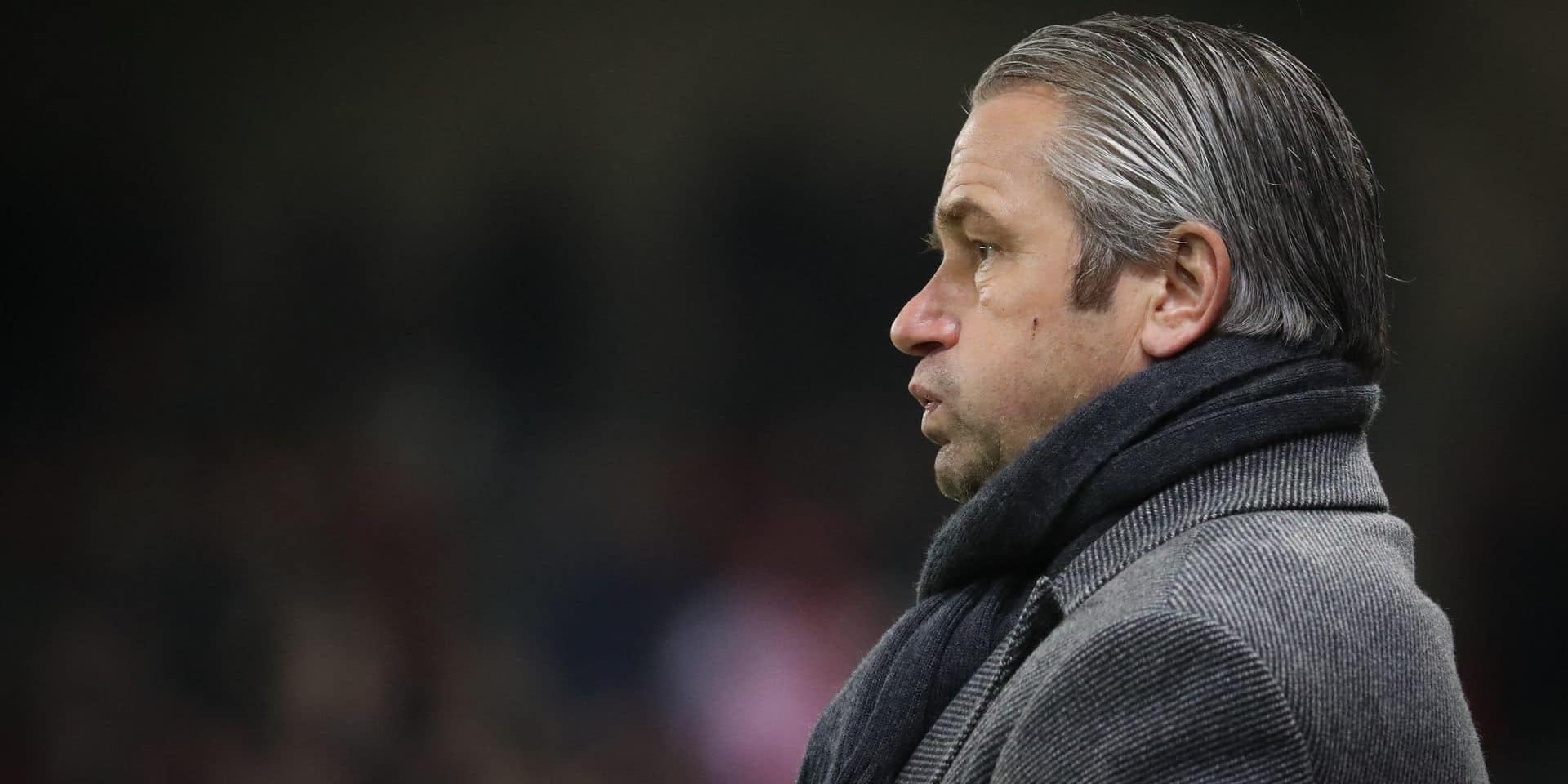 Mouscron's head coach Bernd Storck pictured during a soccer match between Royal Excel Mouscron and Sporting Charleroi, Friday 01 February 2019 in Mouscron, on day 24th of the 'Jupiler Pro League' Belgian soccer championship season 2018-2019. BELGA PHOTO VIRGINIE LEFOUR