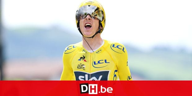 British Geraint Thomas of Team Sky wearing the yellow jersey of overall leader celebrates as he crosses the finish line at the 20th stage of the 105th edition of the Tour de France cycling race, a 31km individual time trial from Saint-Pee-sur-Nivelle to Espelette, France, Saturday 28 July 2018. This year's Tour de France takes place from July 7th to July 29th. BELGA PHOTO DAVID STOCKMAN