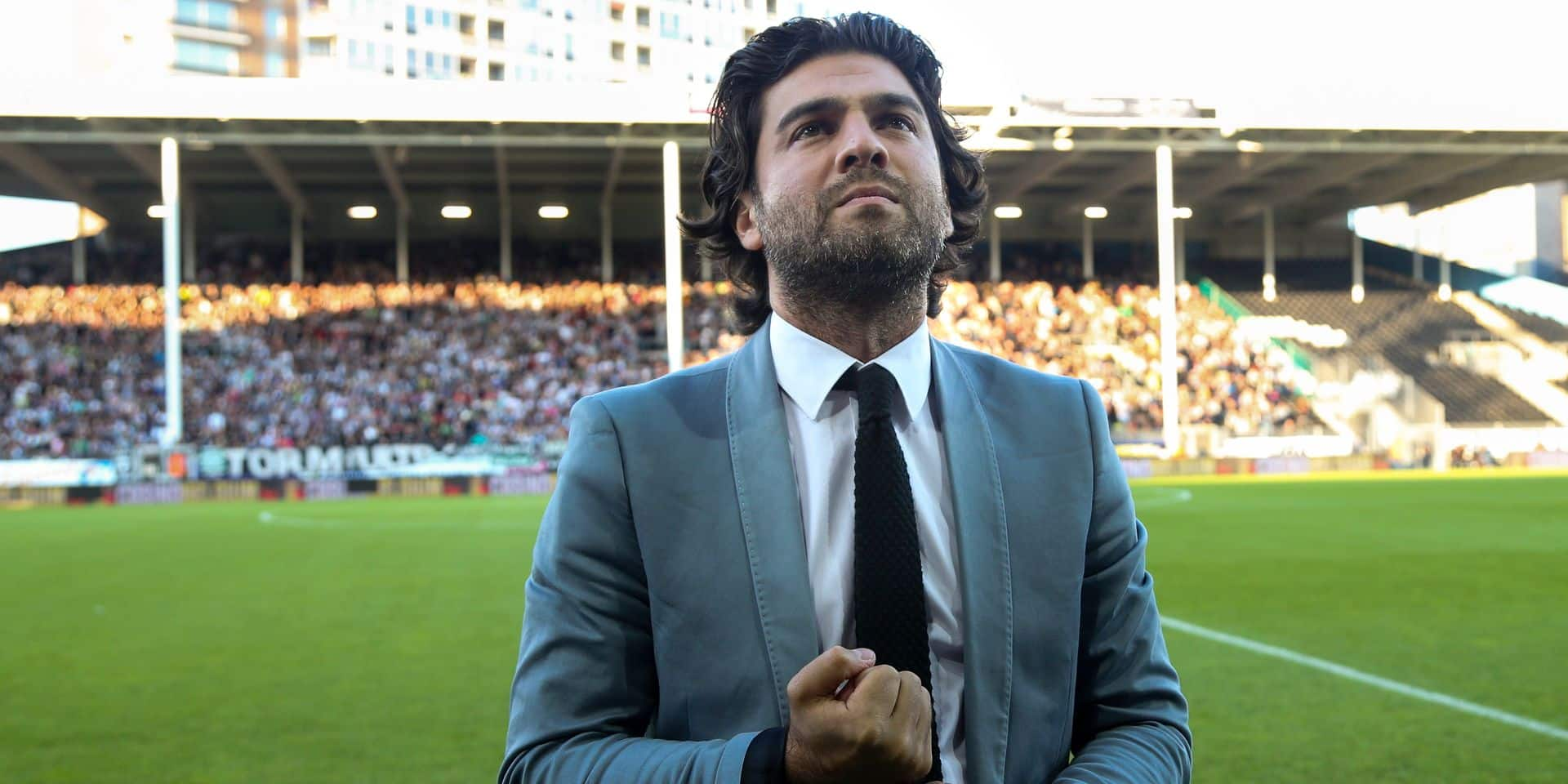 20150730 - CHARLEROI, BELGIUM: Charleroi's manager Mehdi Bayat pictured at a soccer game between Belgian first league team Sporting Charleroi and Ukranian club FC Zorya Luhansk, Thursday 30 July 2015 in Charleroi, the first leg of the third preliminary round of the Uefa Europa League competition. BELGA PHOTO VIRGINIE LEFOUR