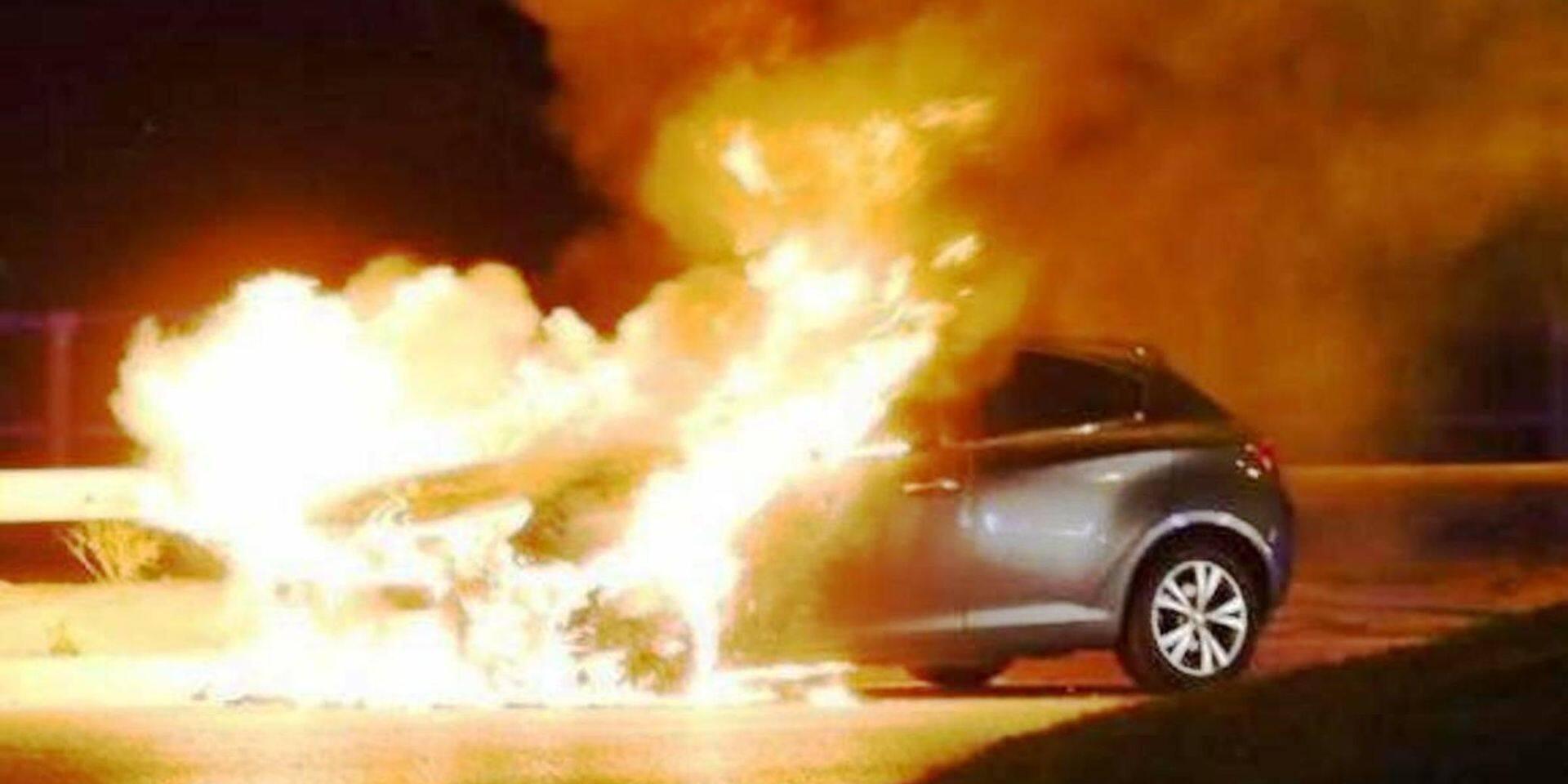 Un véhicule en feu à Aubange