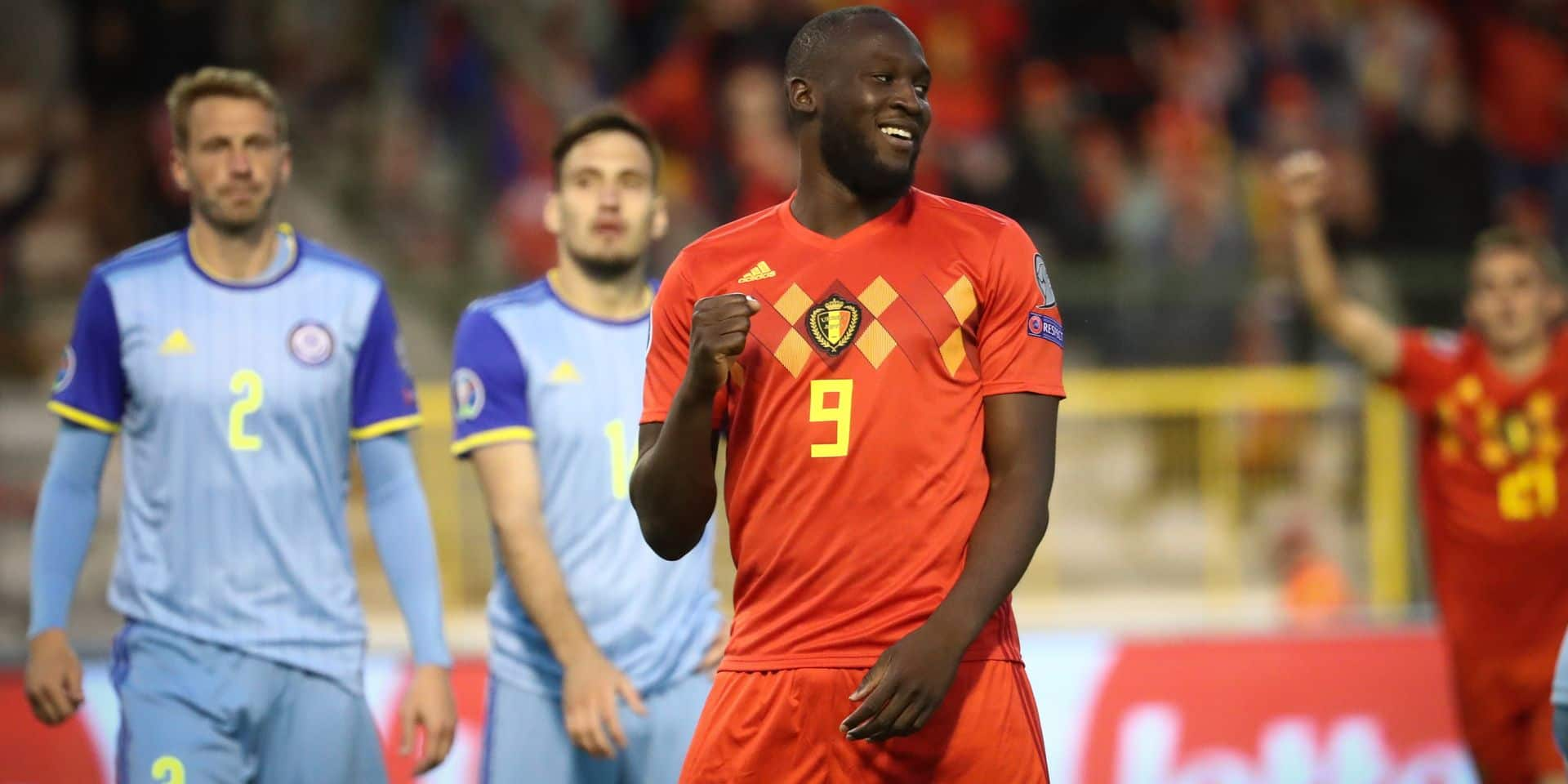 Belgium's Romelu Lukaku celebrates after scoring during a soccer game between Belgian national team the Red Devils and the Republic of Kazakhstan, Saturday 08 June 2019 in Brussels, an UEFA Euro 2020 qualification game. BELGA PHOTO VIRGINIE LEFOUR