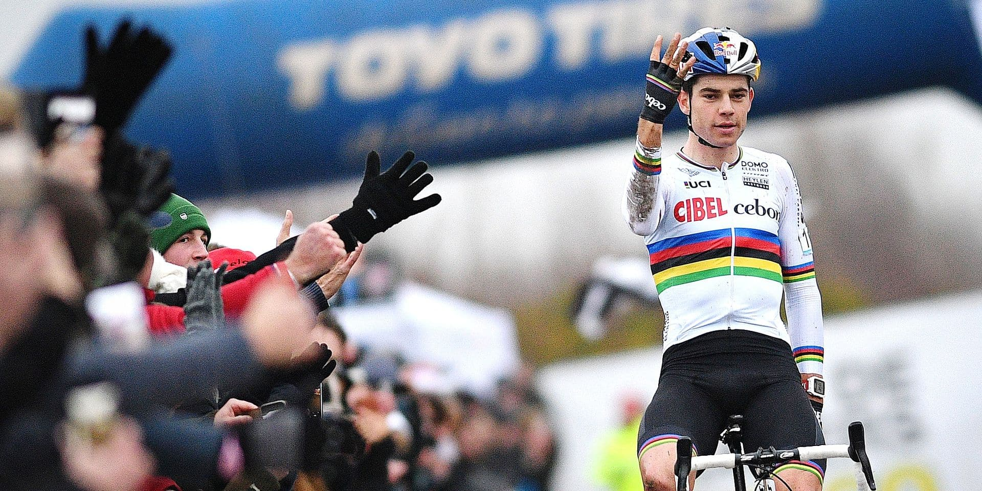 Belgian Wout Van Aert celebrates as he crosses the finish line to win the men's race of the 'Ereprijs Paul Herygers' cyclocross cycling event in Bredene, race 6 out of 8 in the 'Brico Cross' trophy, Saturday 29 December 2018. BELGA PHOTO DAVID STOCKMAN