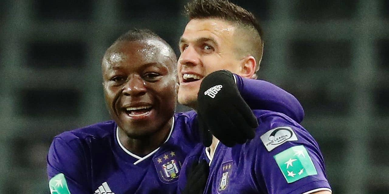 Anderlecht's Ivan Santini celebrates after scoring during the soccer match between RSC Anderlecht and KAS Eupen, Sunday 27 January 2019 in Brussels, on the 23rd day of the 'Jupiler Pro League' Belgian soccer championship season 2018-2019. BELGA PHOTO VIRGINIE LEFOUR