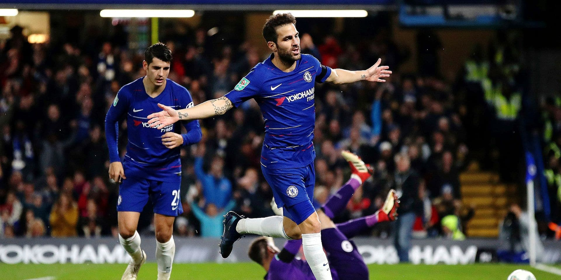 Chelsea's Cesc Fabregas celebrates scoring his side's third goal of the game during the English League Cup 4th round soccer match between Chelsea and Derby County in London, Wednesday, Oct. 31, 2018. (Nick Potts/PA via AP)